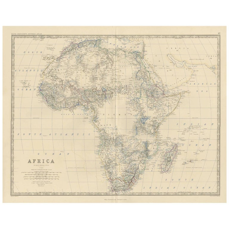 Antique Map Of Africa By A K Johnston 1865 For Sale At 1stdibs