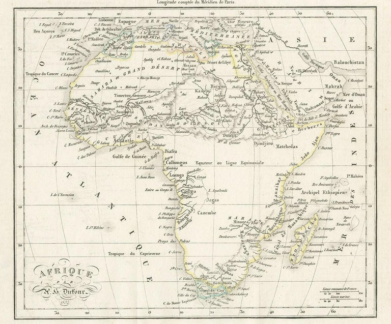 Antique map titled 'Afrique'. Uncommon map of Africa. Published by or after A.H. Dufour, circa 1834. Source unknown, to be determined.