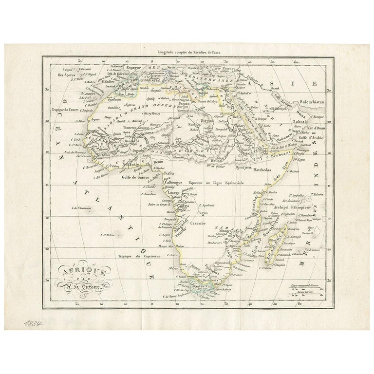 Antique Map of Africa by Dufour, circa 1834 For Sale
