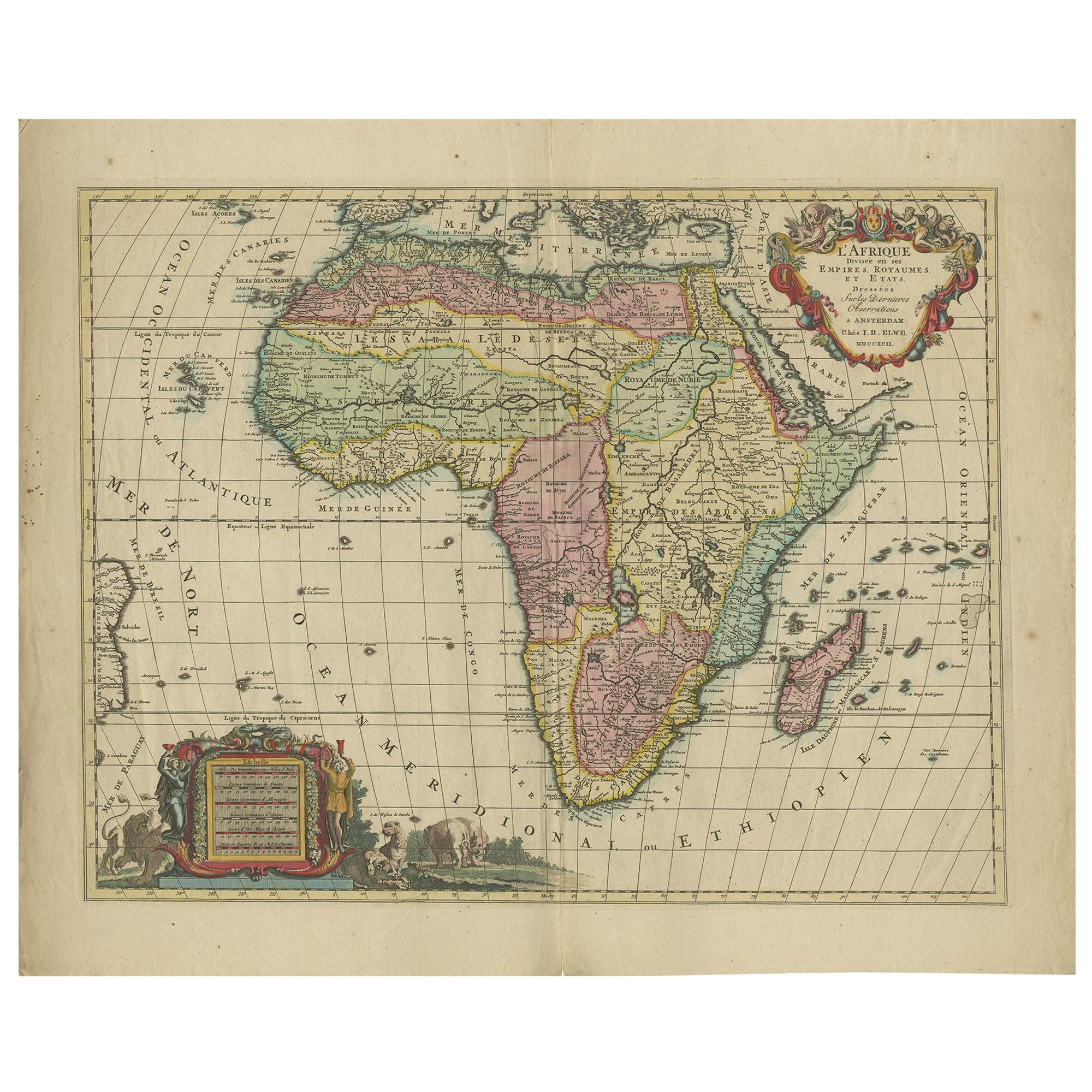 Antique Map of Africa by Elwe '1792'