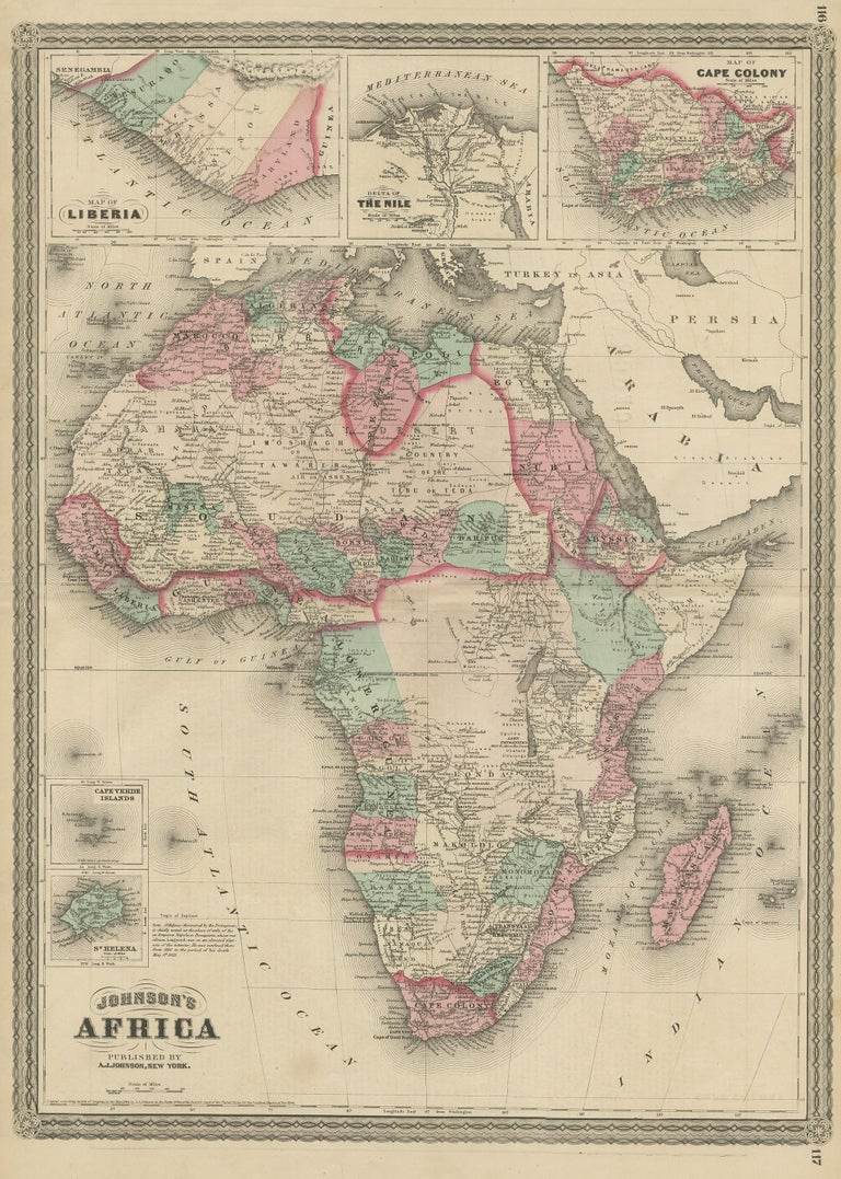 Antique map titled 'Johnson's Africa'. Original map of Africa, with inset maps of Liberia, the delta of the Nile, Cape Colony, Cape Verde Islands and St. Helena. This map originates from 'Johnson's New Illustrated Family Atlas of the World' by A.J.