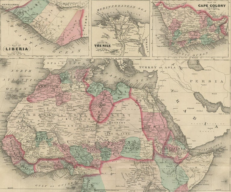 Antique Map of Africa by Johnson, '1872' In Fair Condition In Langweer, NL
