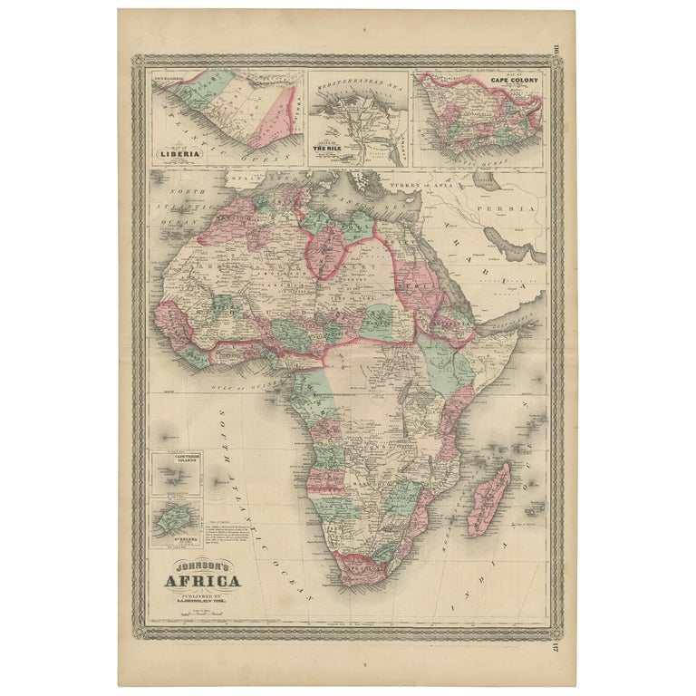 Antique Map of Africa by Johnson, '1872'