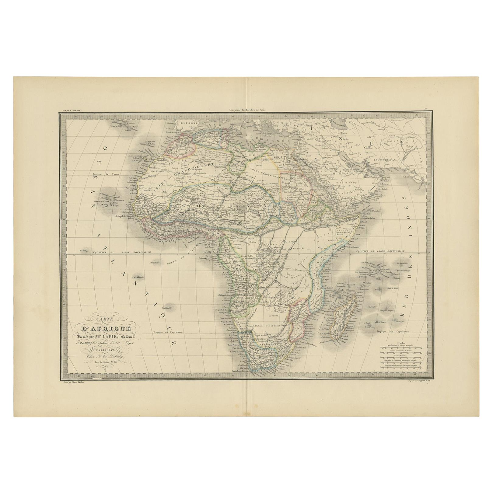 Antique Map of Africa by Lapie, 1842