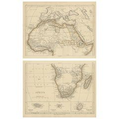 Antique Map of Africa by Lowry, 1852