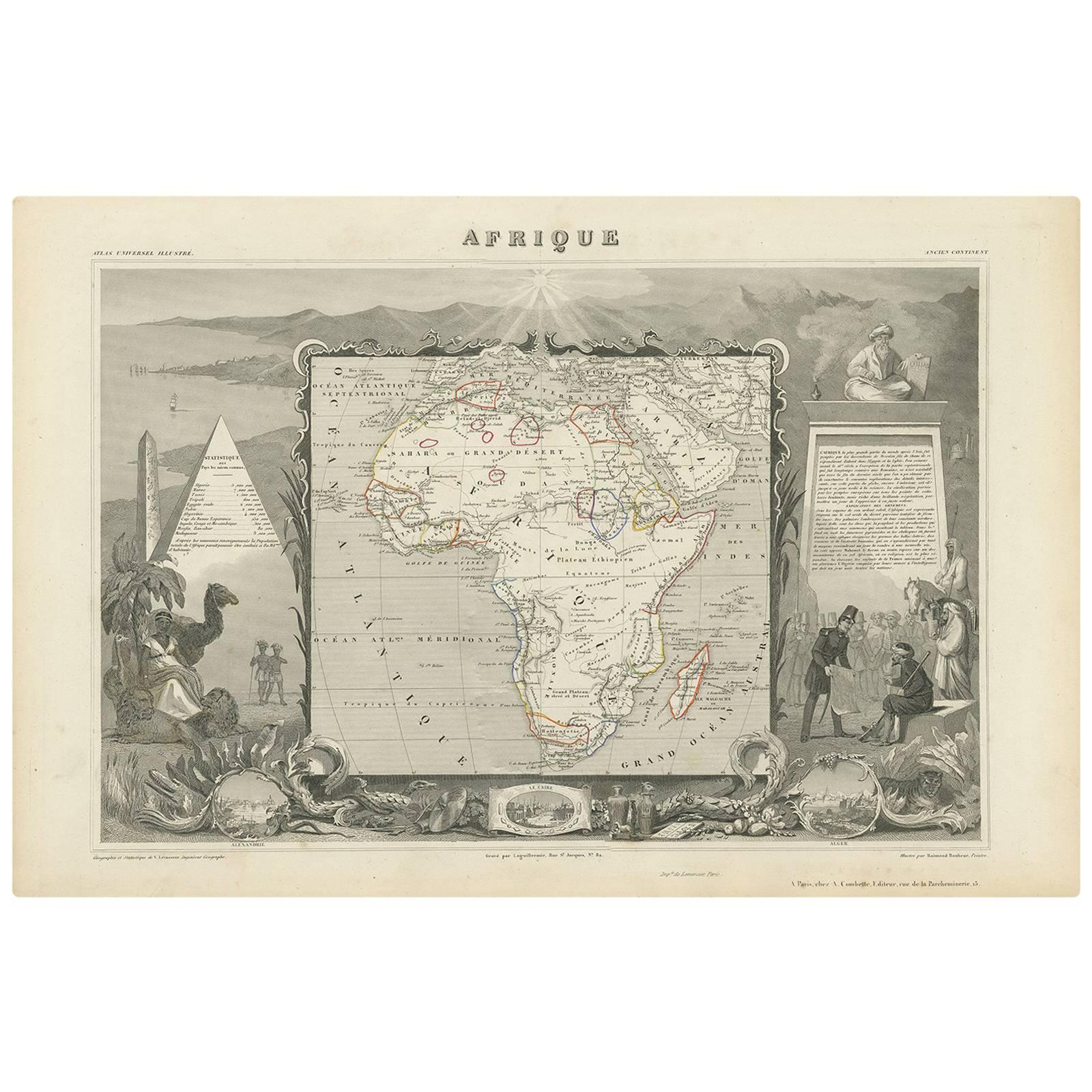 Antique Map of Africa by V. Levasseur, 1854