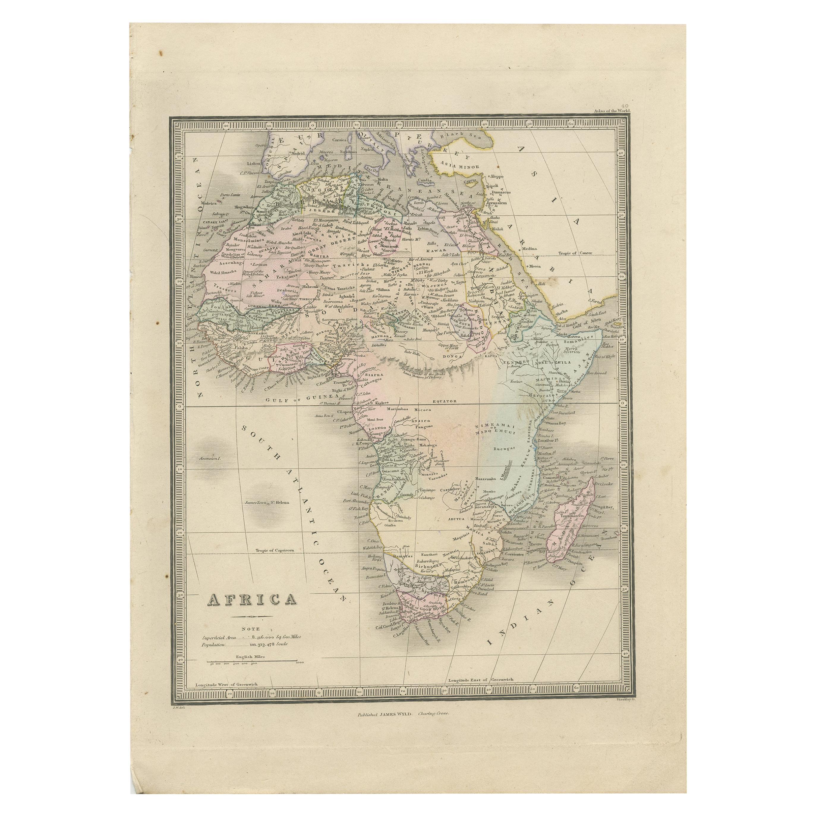 Antique Map of Africa by Wyld '1845'