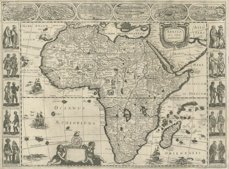 Antique map titled 'Africa Nova Tabula Auct Jud. Hondio'. Beautiful and rare paneled map of Africa, Based Upon Hondius' map. The first derivative of the map was issued separately by Hondius in 1618. This example is based upon the second state of