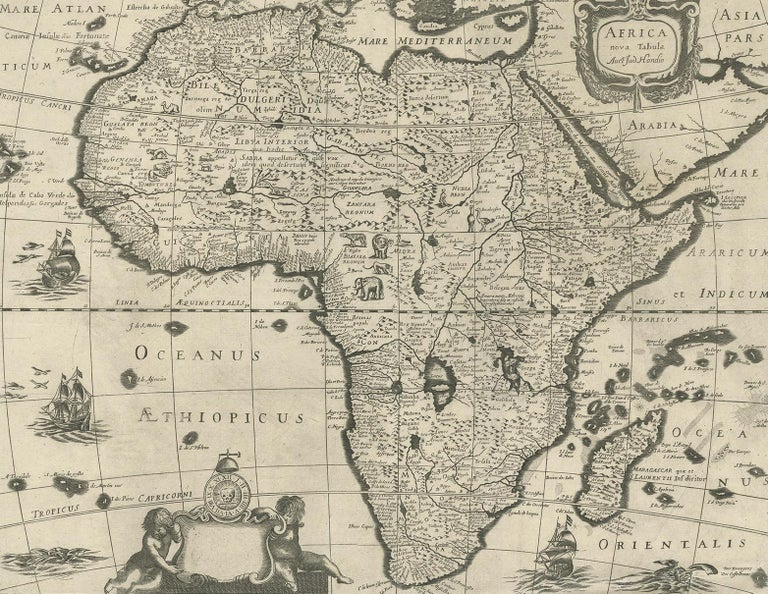 Antique Map of Africa Made after Hondius, circa 1655 In Good Condition For Sale In Langweer, NL