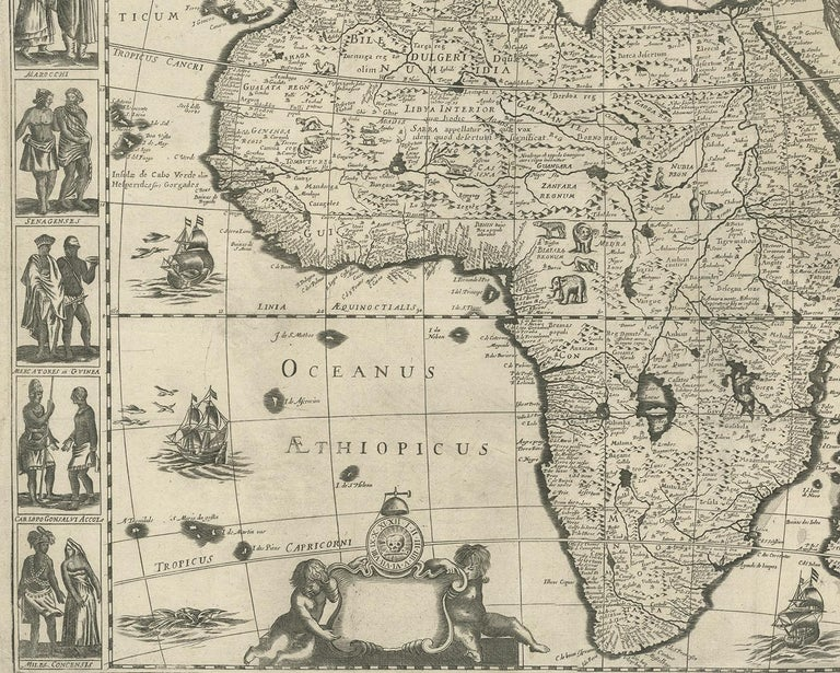 17th Century Antique Map of Africa Made after Hondius, circa 1655 For Sale