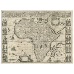 Antique Map of Africa Made after Hondius, circa 1655