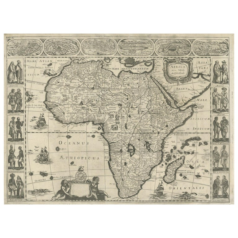 Antique Map of Africa Made after Hondius, circa 1655 For Sale