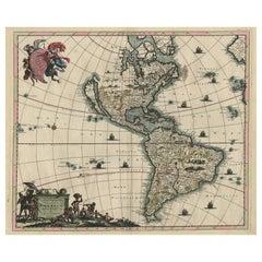 Antique Map of America by Danckerts, circa 1680