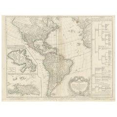 Antique Map of America by Vaugondy, 1778