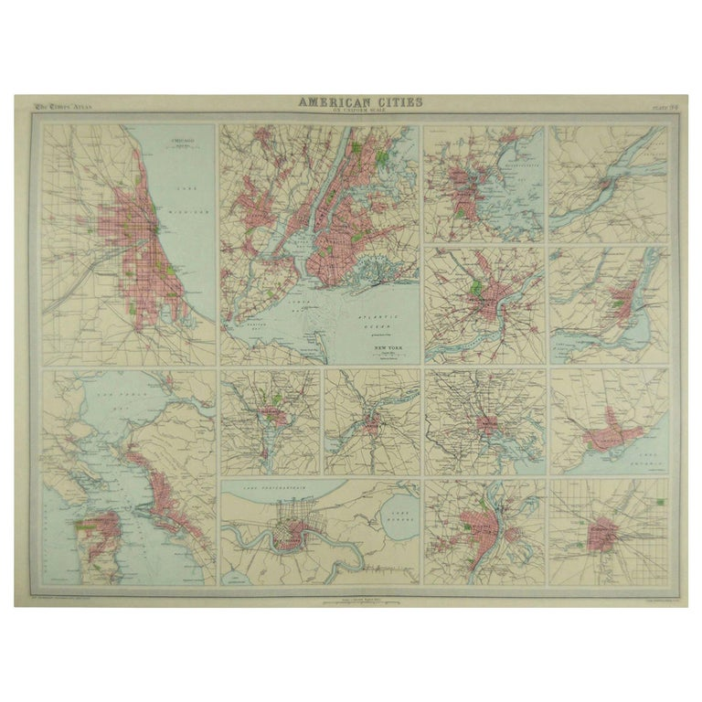 Great maps of American Cities  Unframed  Original color  By John Bartholomew and Co. Edinburgh Geographical Institute  Published, circa 1920  Free shipping.