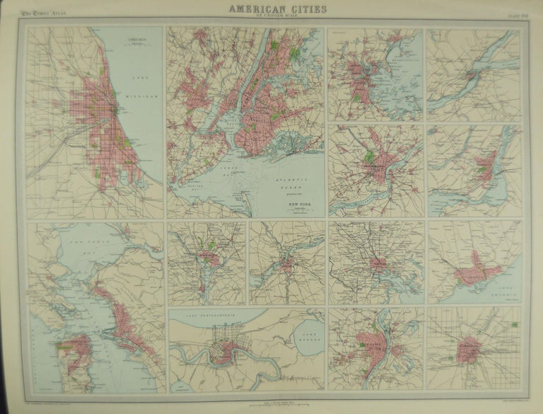 Antique Map of American Cities, Vignette of New York City, circa 1920 In Good Condition In St Annes, Lancashire