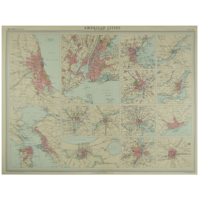 Map Of New York For Sale.Antique Map Of American Cities Vignette Of New York City Circa 1920