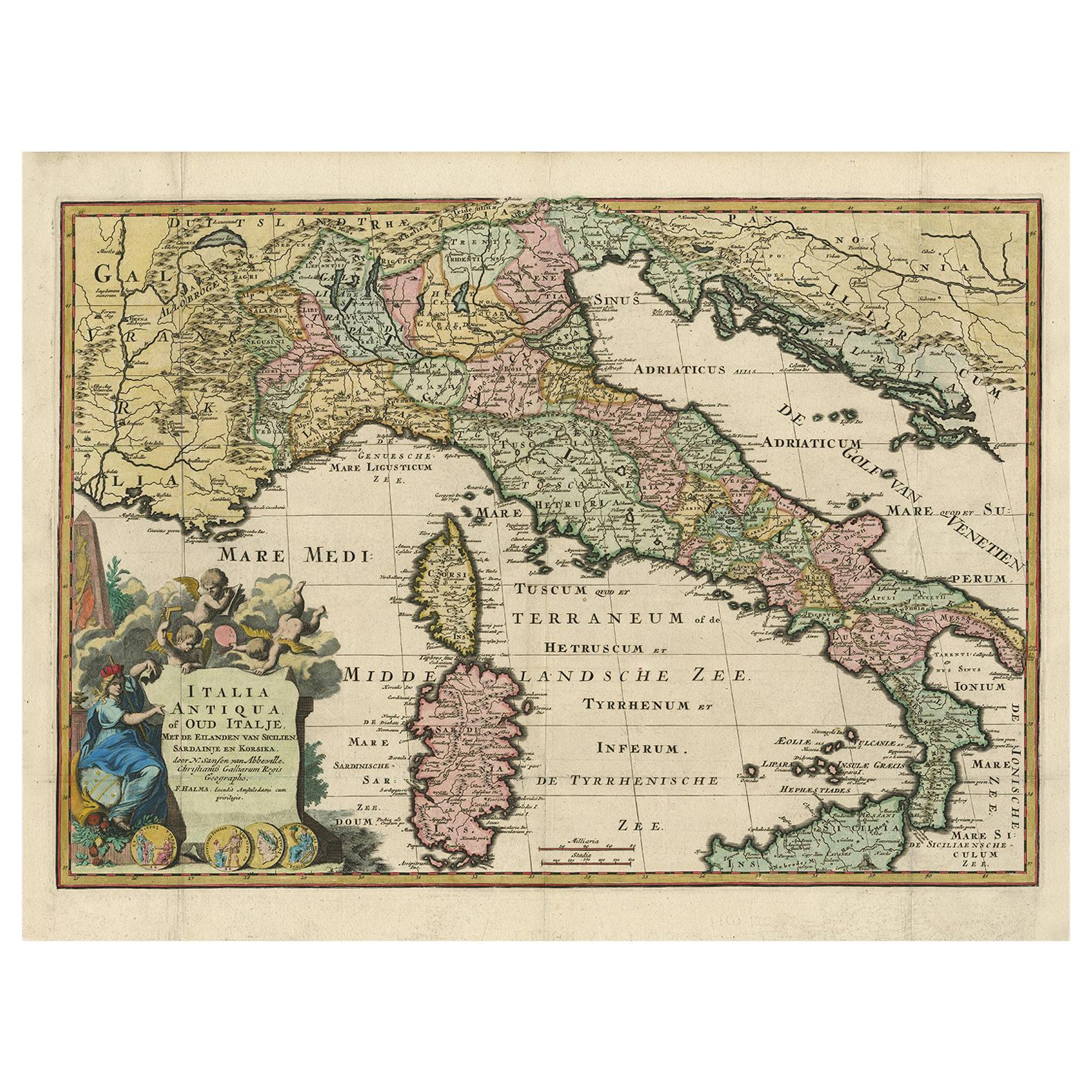 Antique Map of Ancient Italy and the Islands Corsica, Sicily and Sardinia