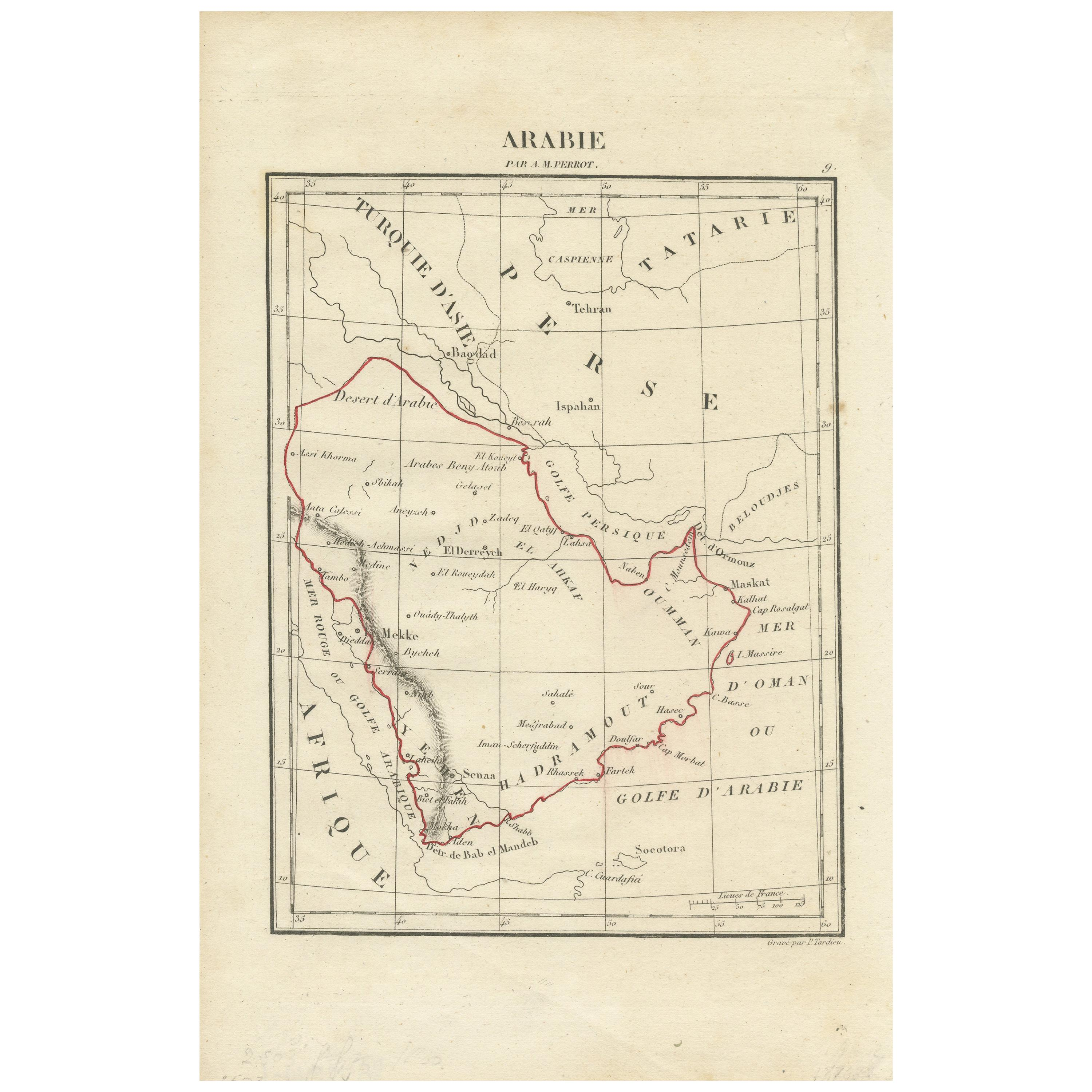 Antique Map of Arabia by Tardieu '1843'