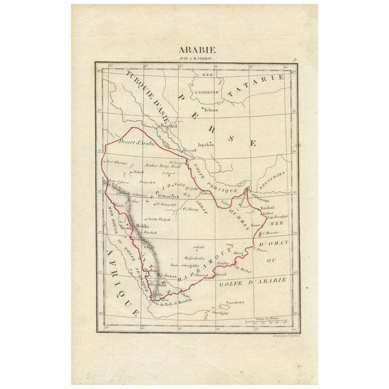 Antique Map of Arabia by Tardieu '1843' For Sale