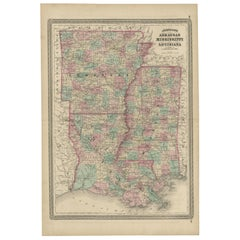 Antique Map of Arkansas, Mississippi and Louisiana by Johnson, 1872