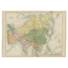 Antique Map of Asia by A & C, Black, 1870