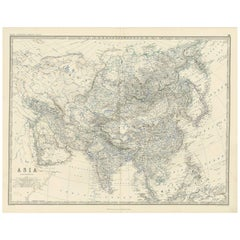 Antique Map of Asia by A.K. Johnston, 1865
