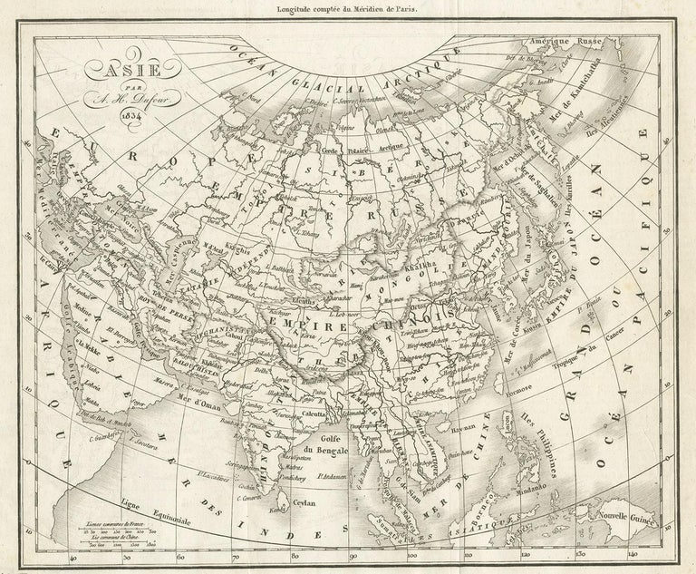 19th Century Antique Map of Asia by Dufour, circa 1834 For Sale