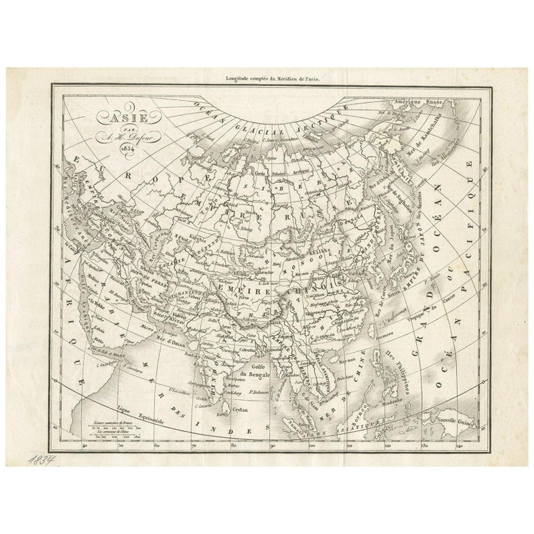 Antique Map of Asia by Dufour, circa 1834 For Sale