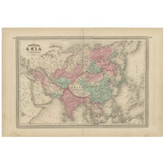 Antique Map of Asia by Johnson, 1872