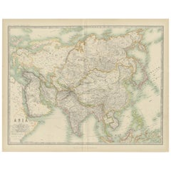 Antique Map of Asia by Johnston '1909'