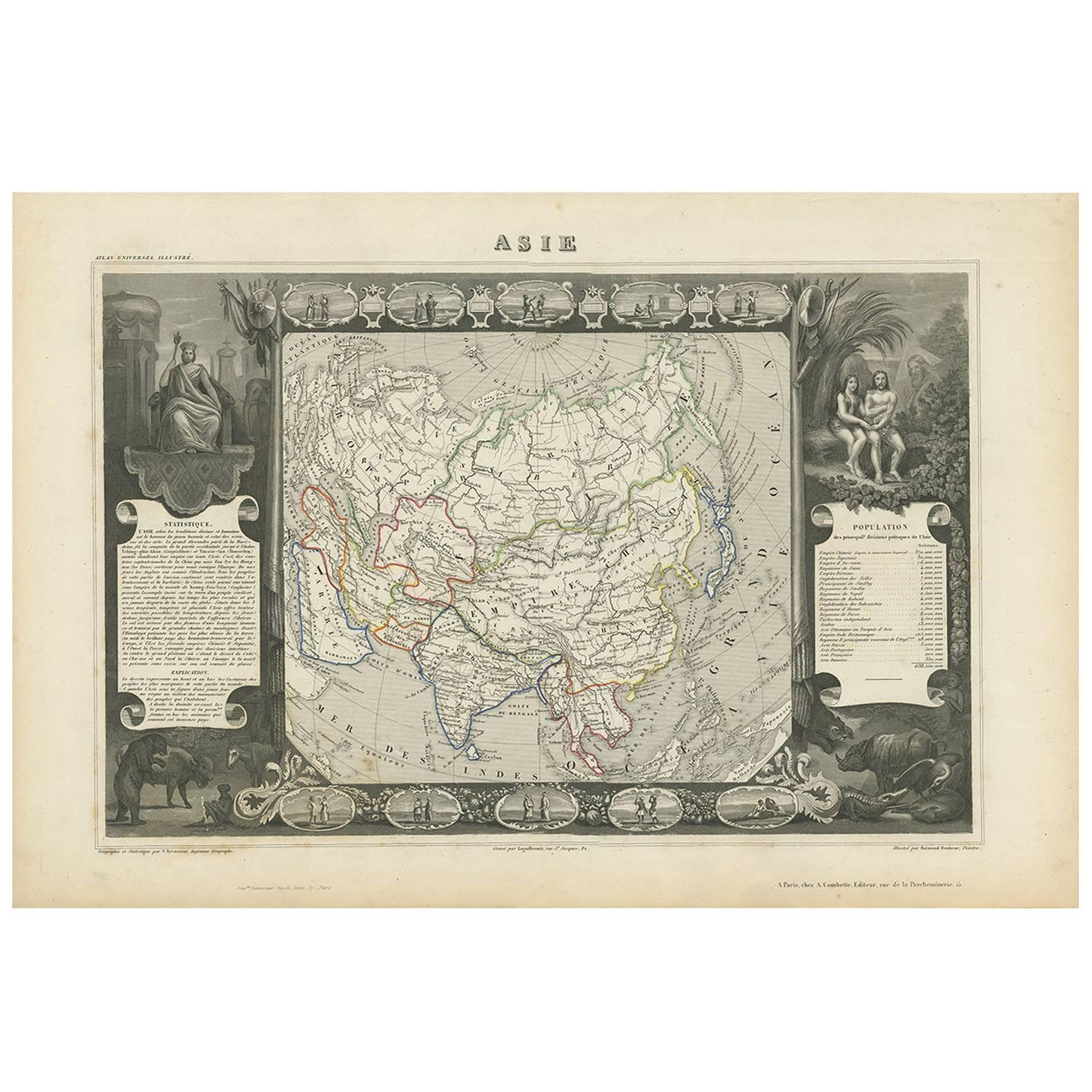 Antique Map of Asia by V. Levasseur, 1854