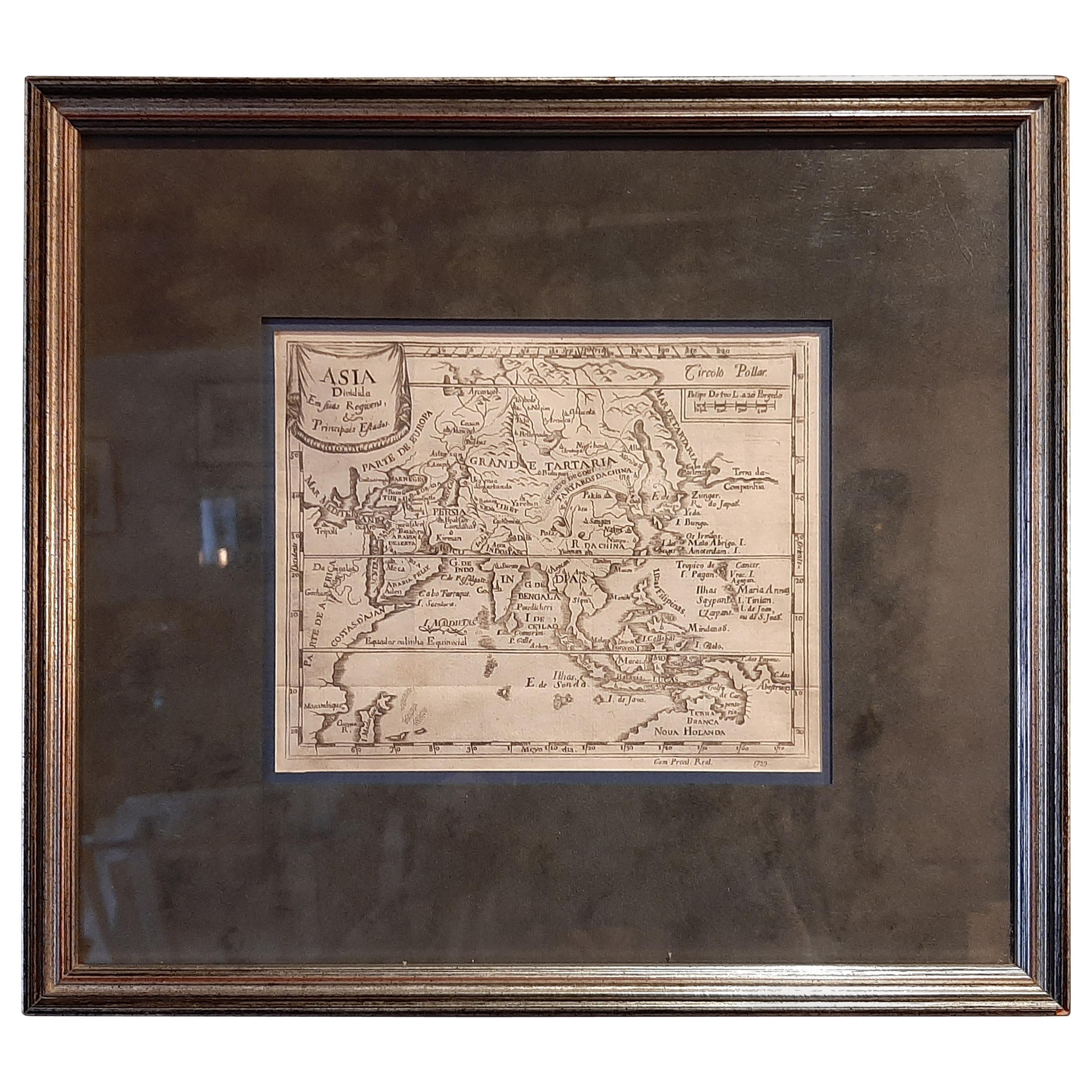 Antique Map of Asia 'circa 1739'