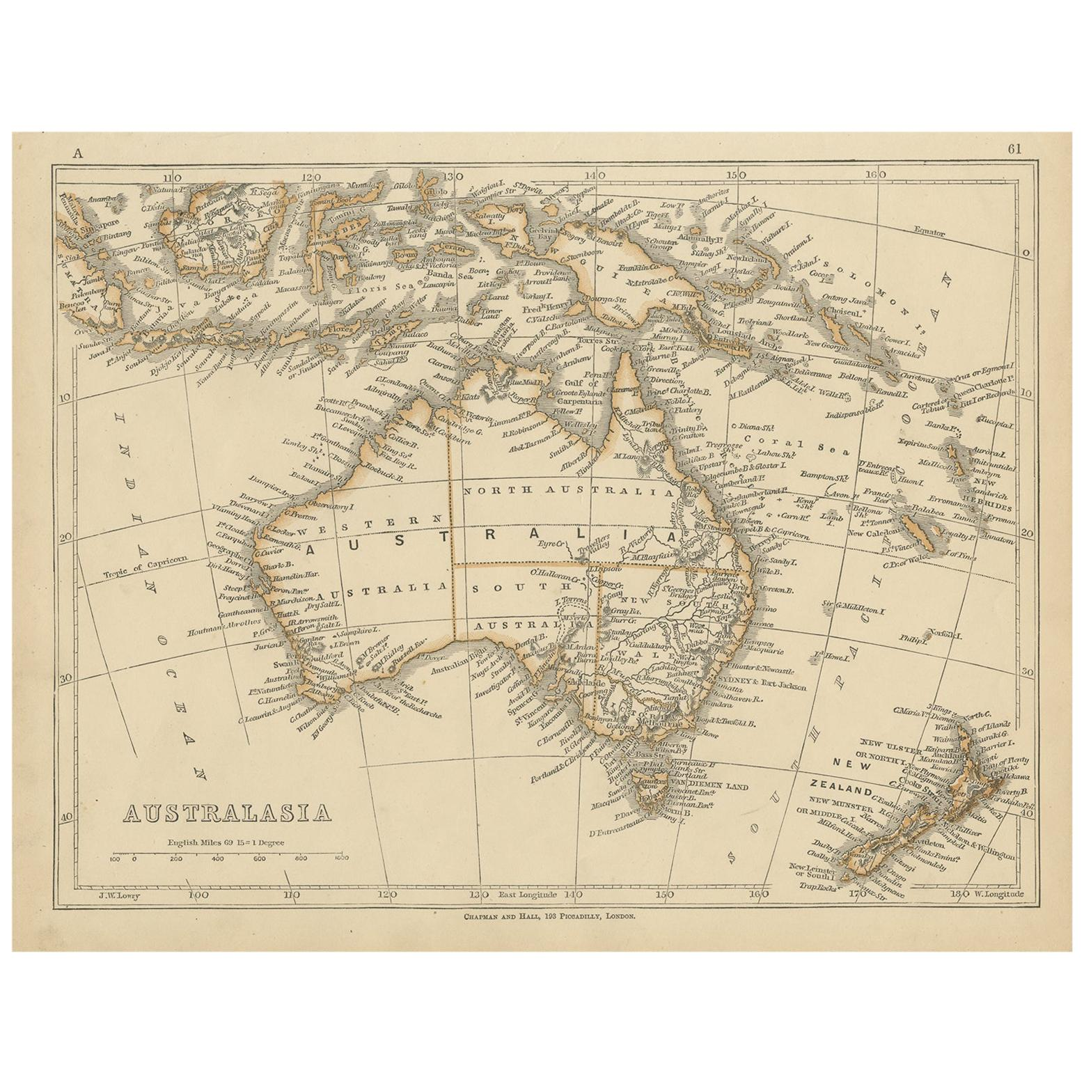 Antique Map of Australasia by Lowry, 1852