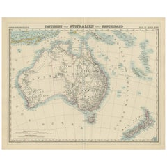 Antique Map of Australia and New Zealand by H. Kiepert, 1874