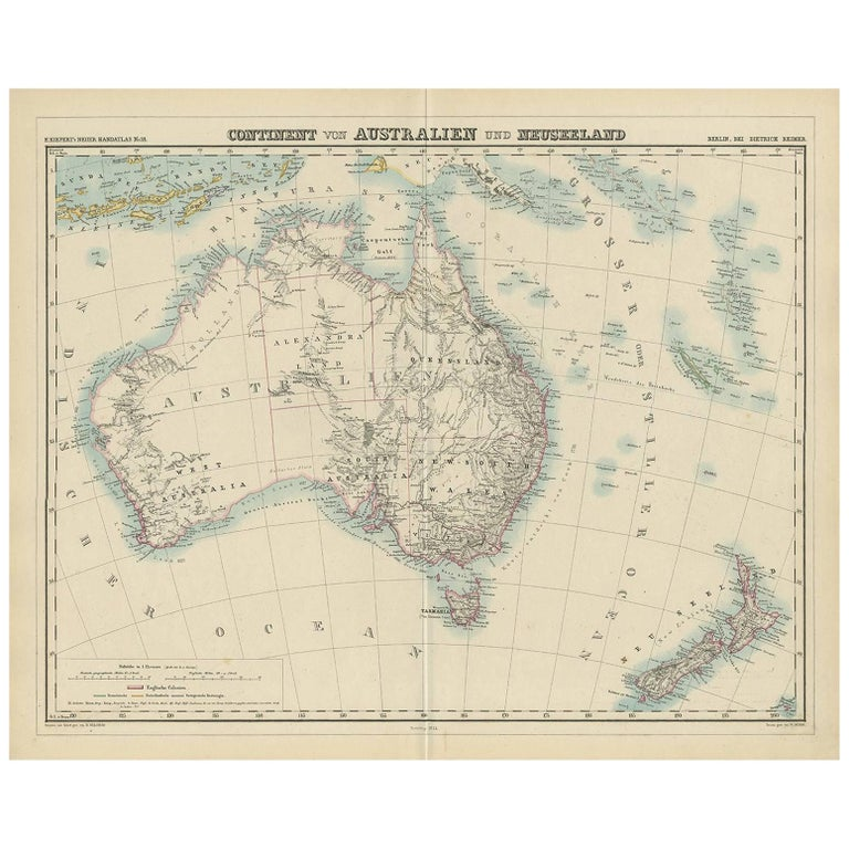 New Zealand Map Australia.Antique Map Of Australia And New Zealand By H Kiepert 1874