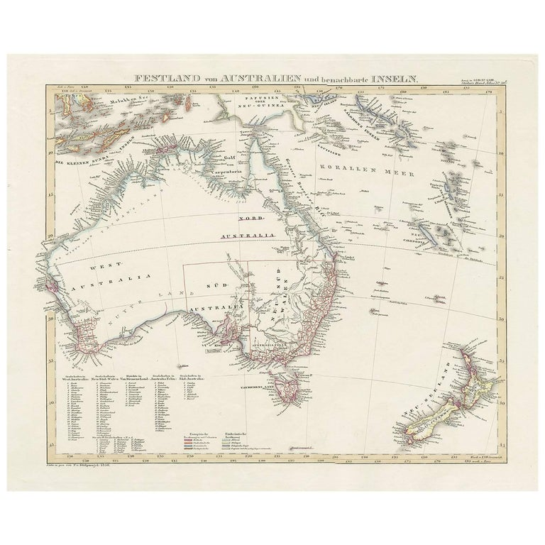 Map Of Australia Islands.Antique Map Of Australia And Surrounding Islands By F Von