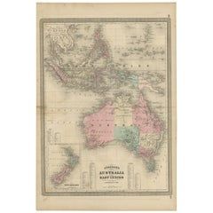 Antique Map of Australia and the East Indies by Johnson, '1872'