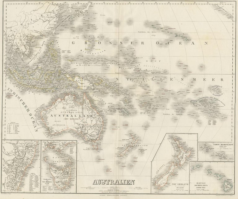 Map Of Upper Asia.Antique Map Of Australia By C Graf 1857