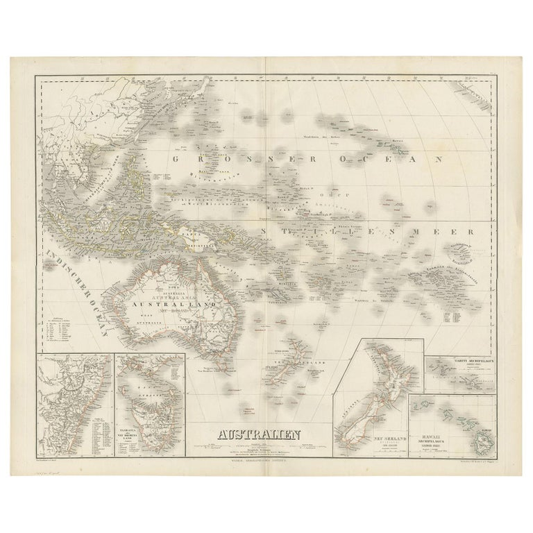 Map Of Southeast Asia Australia And New Zealand.Antique Map Of Australia By C Graf 1857 For Sale At 1stdibs