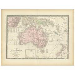 Antique Map of Australia by Levasseur, '1875'