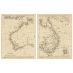 Antique Map of Australia by Lowry, 1852