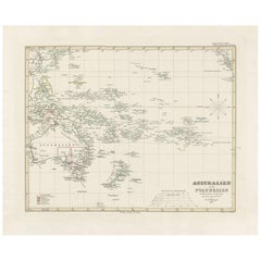 Antique Map of Australia, New Zealand and Oceania by F. von Stülpnagel, 1850