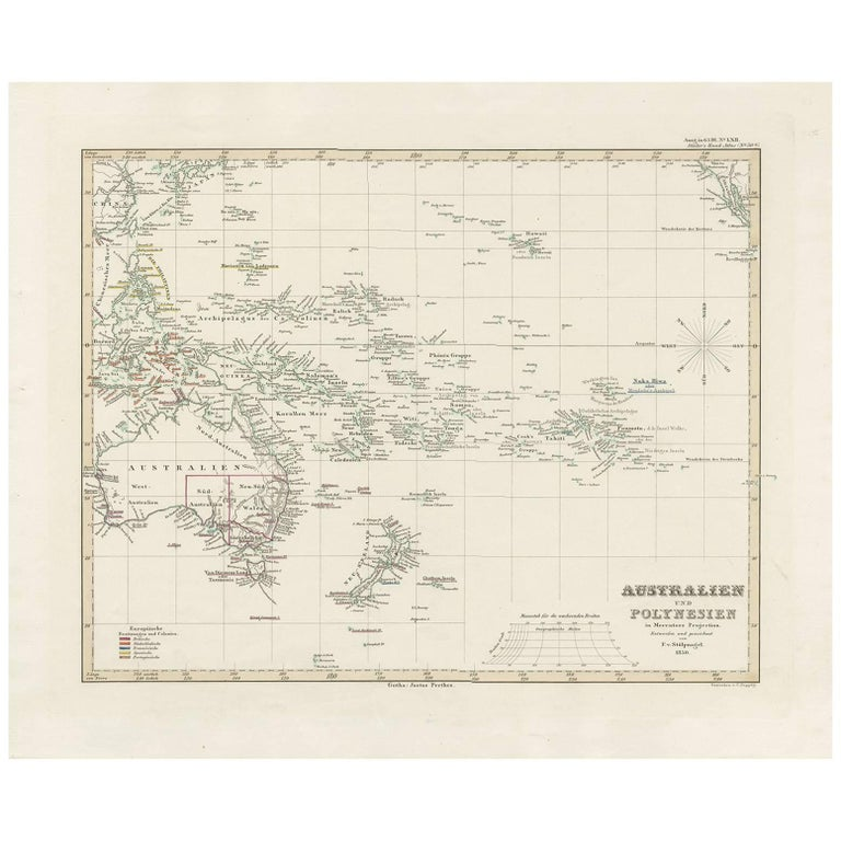 Australia Map 1850.Antique Map Of Australia New Zealand And Oceania By F Von