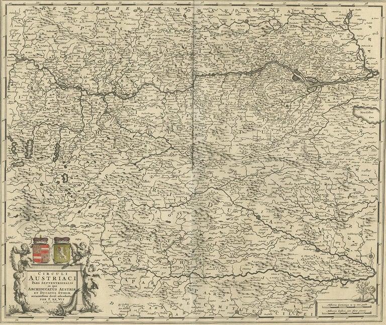 Antique map titled 'Circuli Austriaci pars Septentrionalis in qua Archiducatus'. Decorative and detailed map of Austria by F. de Wit.