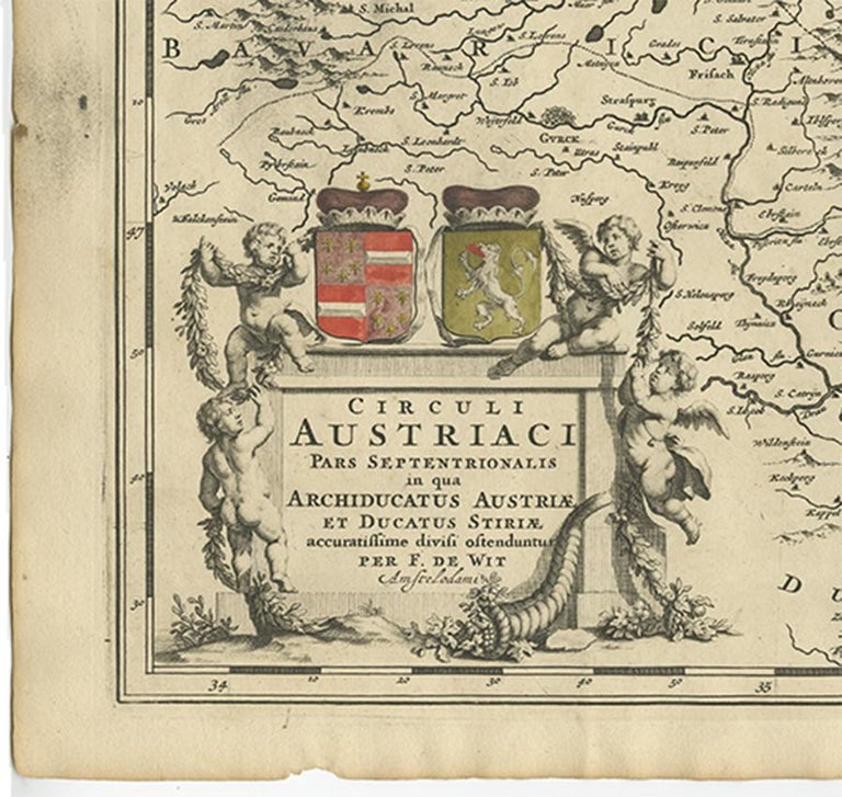 Antique Map of Austria by F. de Wit, 1690 In Good Condition For Sale In Langweer, NL