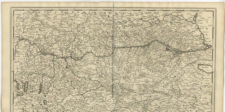 17th Century Antique Map of Austria by F. de Wit, 1690 For Sale