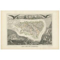 Antique Map of Basses Pyrénées 'France' by V. Levasseur, 1854