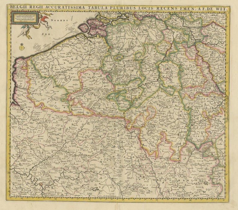 Antique map titled 'Belgii Regii Accuratissima Tabula Pluribus Locis Recens Emen'. Large map of Belgium and Northern France. Published by F. de Wit, circa 1680.