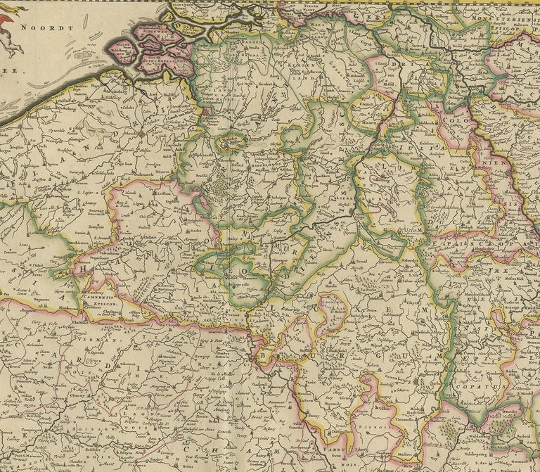 Antique Map of Belgium and Northern France by F. de Wit, circa 1680 In Good Condition For Sale In Langweer, NL